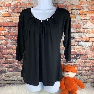 WHBM black embellished top 3/4 sleeve size Medium